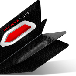 Harrows Velos Dart Flight mit Raketenflügel Aerodynamik Rot