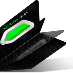 Harrows Velos Dart Flight mit Raketenflügel Aerodynamik Grün