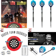 GOKarli Set Zusammenstellung Bull´s & Shot Dart Bristle Turnier Dartboard Set Darts Team Germany Max Hopp & Martin Schindler und Martin Schindler Match Steeldarts 23 g plus GOKarli Flights