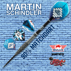 BULL'S Steel Darts Bull´s powered by Shot Darts Martin Schindler The Wall Match Darts 90% Steeltip Darts Steeldart Banner mit Flights