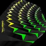 Harrows Orbital Dart Flight Dartflight speziell laminiert Gelb/Grün