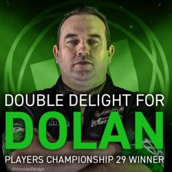 Doppelte Freude für Dolan - 29. Players Championship Sieger 15. Oktober 2019! Der History Maker, Brendan Dolan, verdoppelte seine Anzahl der PDC-Ranglistentitel für 2019 mit einem 8-6-Sieg über Ian White bei den 29. Players Championship.