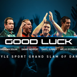 Die Winmau Dart Stars beim Grand Slam of Darts 9.- 17. November 2019 in Wolverhampton, England - Daryl Gurney, Danny Noppert, Brendan Dolan, William O'Connor