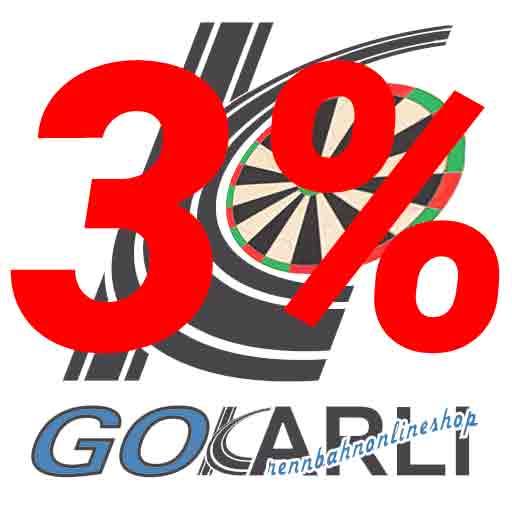 3% MwSt Senkung auf alle Artikel im GOKarli Rennbahn & Dartshop, wir helfen mit in der Corona-Pandemie