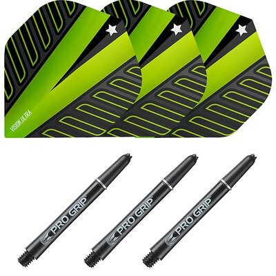 Target Rob Cross Pro Grip Shaft M Medium Schwarz und Voltage Vision Ultra Grün Nr.2 Shaft-Flight Set
