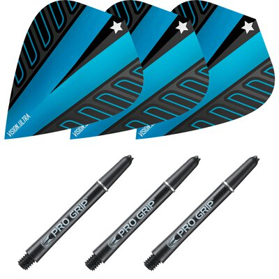 Target Rob Cross Pro Grip Shaft M Medium Schwarz und Voltage Vision Ultra Blau Kite Shaft-Flight Set
