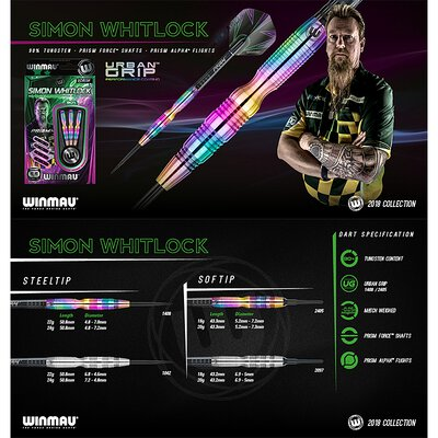 Winmau Soft Darts Simon Whitlock Urban Grip Softtip Dart Softdart 90% Tungsten