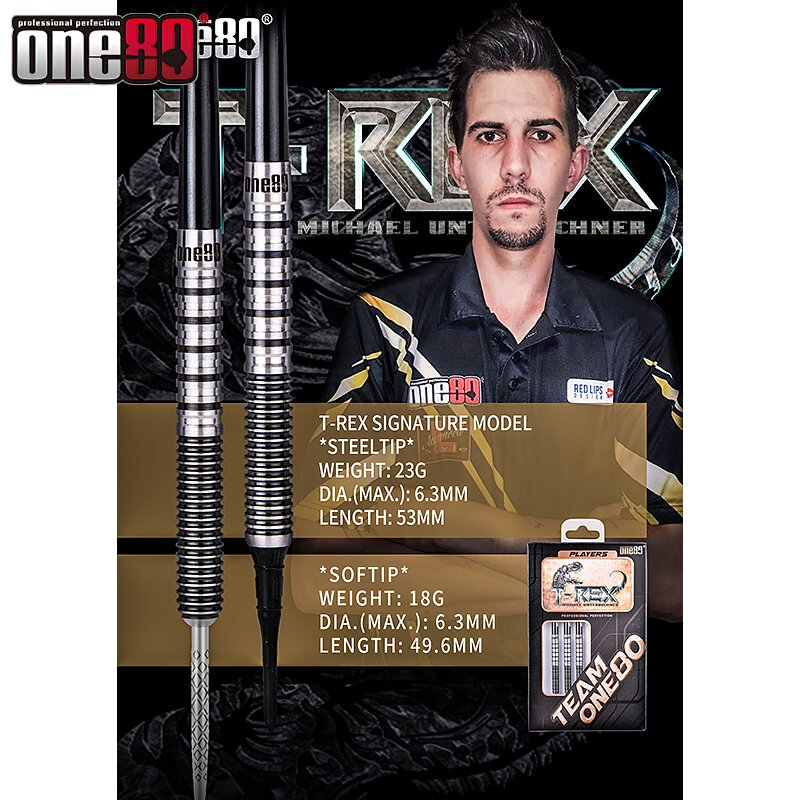 Steel Dart T-Rex Michael Unterbuchner Grand Slam Edition 23g One80 Dart NEU