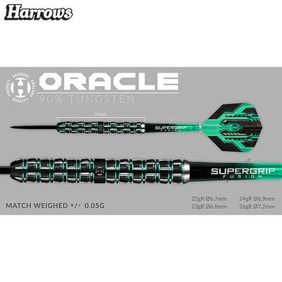 Harrows Steel Darts Oracle 90% Tungsten Steeltip Dart Steeldart
