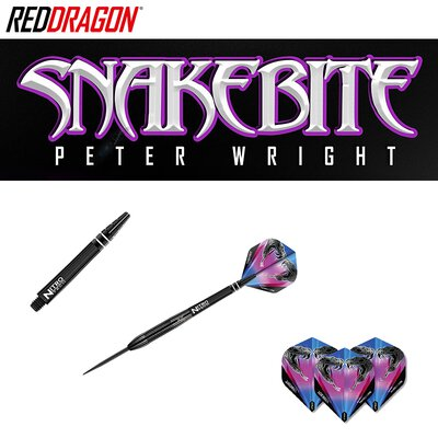 Red Dragon Steel Darts Peter Wright Snakebite 3 Black Steeltip Dart Steeldart