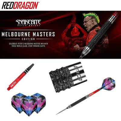 Winmau Blade 5 Dual Core Bristle Dart Board und Red Dragon Peter Wright Snakebite Melbourne Masters Steeldart GOKarli Flights Starter Pack