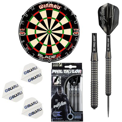 Winmau Blade 5 Dart Board incl.Phil Taylor Power 8Zero Black 23 g Steeldart GOKarli Flight Starter Pack
