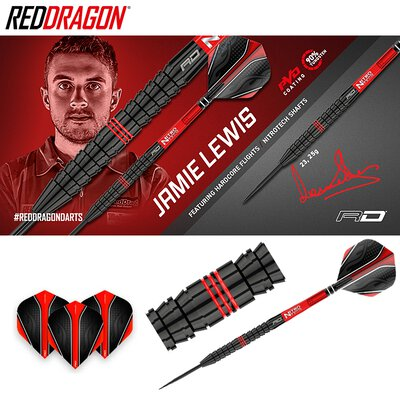 Red Dragon Steel Darts Jamie Lewis Fireball 90% Tungsten Steeltip Dart Steeldart 2019