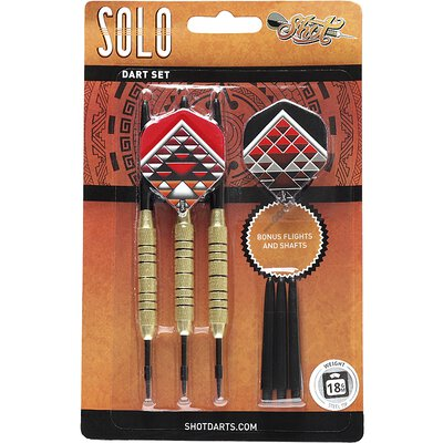 Shot Steel Dart Geschenkeset Solo Dart Set Messing Brass Plated Steeltip Darts Steeldart 18g
