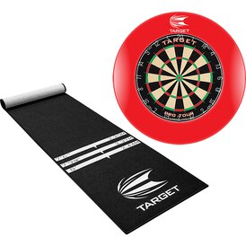 Target Pro Tour Dartboard & Surround Rot / Dart Catchring...
