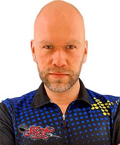 Dart Spieler Daniel Larsson Shot Darts