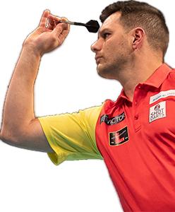 Dart Spieler Toni Alcinas Shot Darts